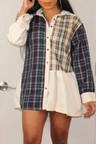 Multicolor Fashion Casual Patchwork Basic Turndown Collar Shirt Dress