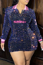 Tibetan Blue Fashion Sexy Patchwork Embroidered Sequins Turndown Collar Long Sleeve Plus Size Dresses