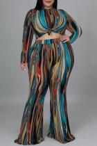 Colour Fashion Casual Print Basic O Neck Plus Size Two Pieces