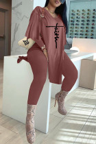 Brown Fashion Casual Embroidery Slit V Neck Long Sleeve Two Pieces