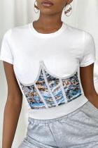 White Fashion Print Asymmetrical Bustiers