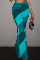 Lake Blue Fashion Casual Print Basic Boot Cut High Waist Trousers