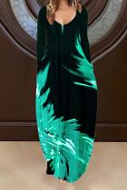 Green Casual Print Split Joint V Neck Long Sleeve Dresses