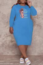 Blue Fashion Casual Print Basic O Neck Long Sleeve Plus Size Dresses