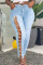 Light Blue Fashion Casual Solid Embroidered Hollowed Out Plus Size Jeans