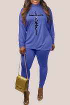 Blue Fashion Casual Print Basic Turtleneck Long Sleeve Two Pieces