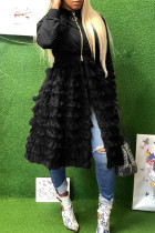 Black Fashion Casual Patchwork Solid Zipper Outerwear