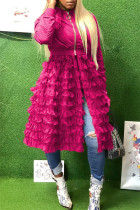 Rose Red Fashion Casual Patchwork Solid Zipper Outerwear