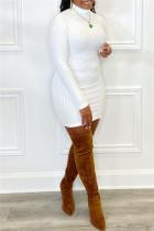 White Fashion Casual Solid Basic Turtleneck Long Sleeve Dresses