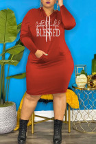 Red Casual Print Split Joint Hooded Collar Pencil Skirt Plus Size Dresses