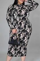 Multicolor Fashion Casual Print Basic O Neck Long Sleeve Plus Size Dresses