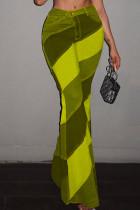 Khaki Fashion Casual Print Basic Boot Cut High Waist Trousers