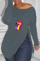 Grey Fashion Casual Lips Printed Slit Zipper O Neck Tops
