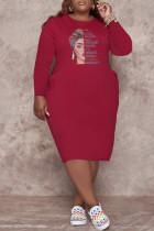 Burgundy Fashion Casual Print Basic O Neck Long Sleeve Plus Size Dresses
