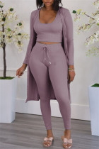 Pink Purple Fashion Casual Solid Cardigan Vests Pants U Neck Long Sleeve Two Pieces