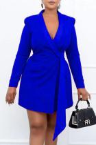 Blue Fashion Work Solid Bandage V Neck Pencil Skirt Dresses