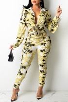 Yellow British Style Print Split Joint Buckle Turndown Collar Long Sleeve Two Pieces(Without Belt)