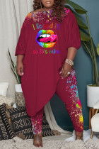 Burgundy Casual Print Split Joint Off the Shoulder Plus Size Two Pieces