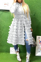 White Fashion Casual Patchwork Solid Zipper Outerwear