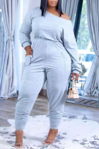 Grey Casual Solid Split Joint One Shoulder Long Sleeve Two Pieces