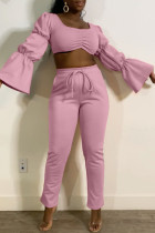 Pink Fashion Casual Solid Basic Square Collar Long Sleeve Two Pieces