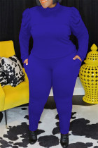 Blue Fashion Casual Solid Basic Turtleneck Plus Size Two Pieces