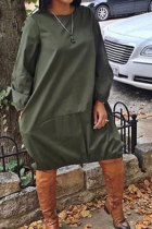 Army Green Sexy Fashion Cap Sleeve Long Sleeves O neck Ball Gown Knee-Length Patchwork Solid