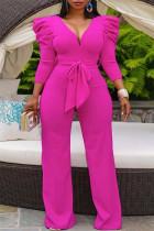 Rose Red Fashion Casual Solid With Belt V Neck Regular Jumpsuits