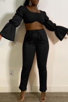 Black Fashion Casual Solid Basic Square Collar Long Sleeve Two Pieces
