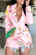 Pink Fashion Casual Print Cardigan Turndown Collar Outerwear
