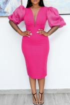Pink Fashion Casual Solid Split Joint V Neck Dresses