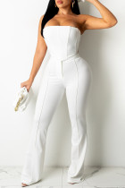 White Fashion Sexy Solid Backless Strapless Sleeveless Two Pieces