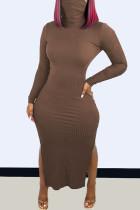 Brown Fashion Casual Solid Slit Turtleneck Long Sleeve Dresses