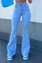 Baby Blue Fashion Casual Solid High Waist Boot Cut Denim Jeans