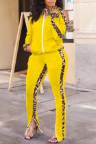 Yellow Casual Print Leopard Split Joint Zipper Zipper Collar Long Sleeve Two Pieces