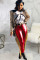 Red PU Zipper Fly Mid Tassel Solid Zippered Skinny Pants Pants