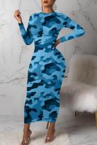 Light Blue Sexy Print Camouflage Print Split Joint O Neck One Step Skirt Dresses