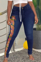 Deep Blue Street Solid Bandage Hollowed Out Split Joint Plus Size Jeans