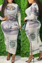 Cream White Sexy Print Split Joint See-through O Neck One Step Skirt Plus Size Dresses