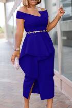 Blue Party Solid Split Joint Off the Shoulder Irregular Dress Dresses (without Belt)