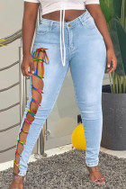 Light Blue Street Solid Bandage Hollowed Out Split Joint Plus Size Jeans