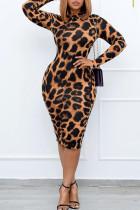 Orange Sexy Print Leopard Split Joint O Neck One Step Skirt Plus Size Dresses