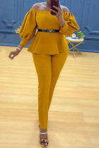 Yellow Casual Solid Split Joint Off the Shoulder Plus Size Two Pieces(Without Belt)