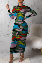 Colour Sexy Print Camouflage Print Split Joint O Neck One Step Skirt Dresses