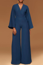 Blue Casual Solid Split Joint V Neck Boot Cut Jumpsuits