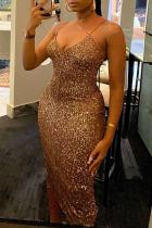 Gold Sexy Solid Rhinestone Spaghetti Strap Irregular Dress Dresses