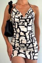 White Sexy Print Split Joint Halter Pencil Skirt Dresses