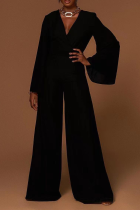 Black Casual Solid Split Joint V Neck Boot Cut Jumpsuits