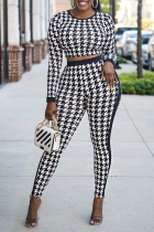 Black And White Sexy Print Split Joint O Neck Long Sleeve Two Pieces