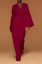 Burgundy Casual Solid Split Joint V Neck Boot Cut Jumpsuits